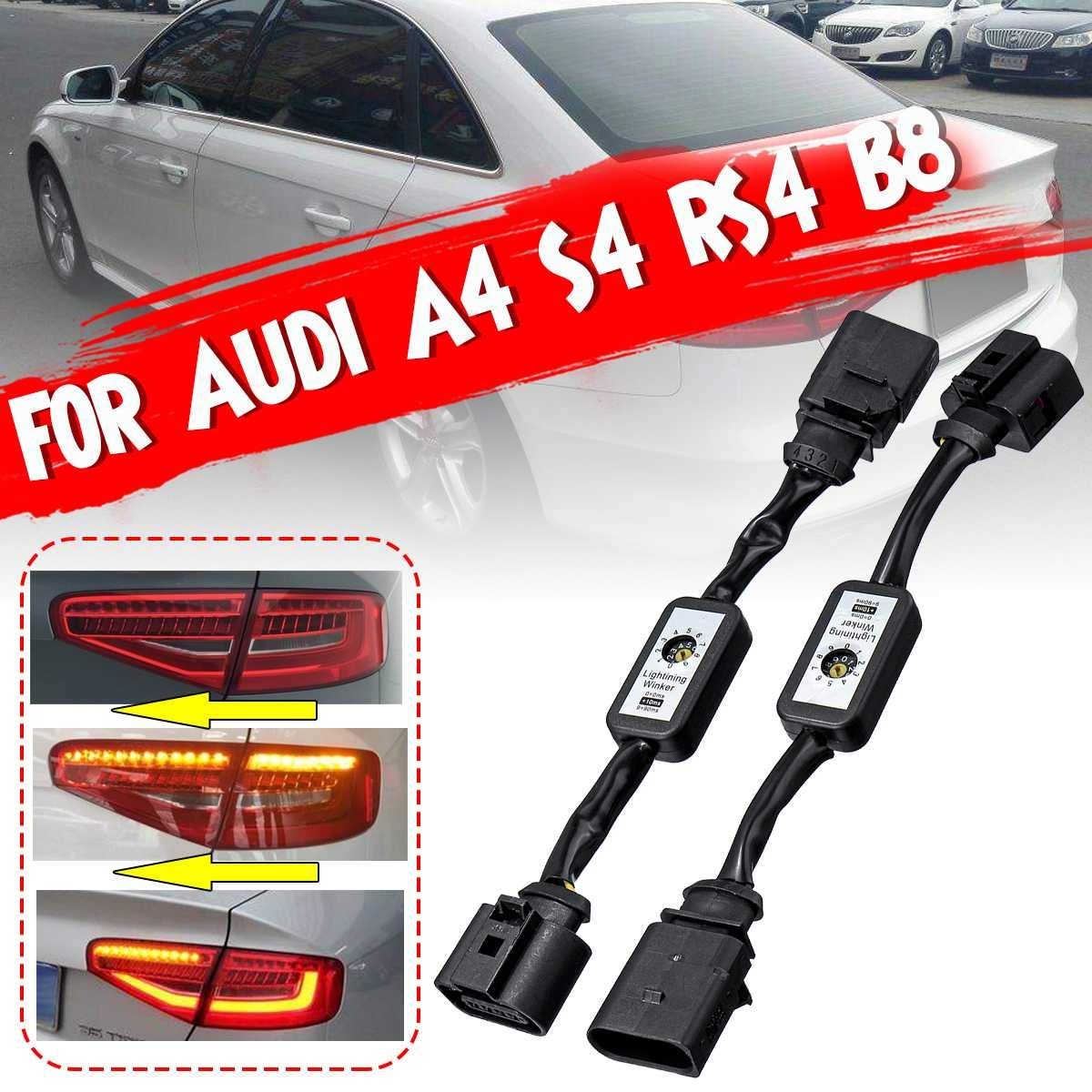 NEW 2Pcs Black Dynamic Turn Signal Indicator LED Taillight Add-on Module Cable Wire Harnes For Audi A4 S4 RS4 B8 2010-2019