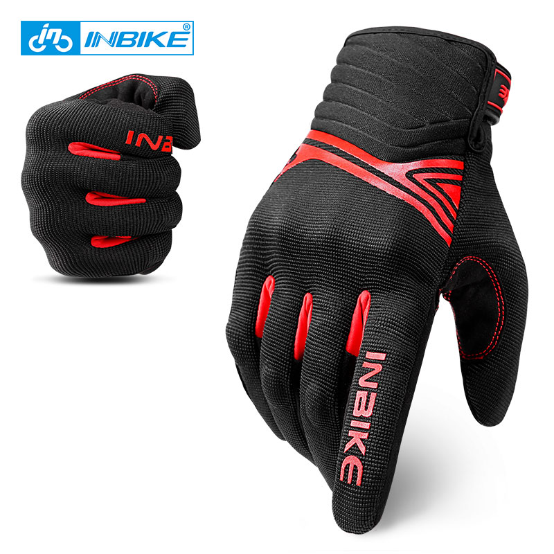 INBIKE Shockproof Cycling Gloves Breathable Riding MTB Bike Bicycle Gloves Men Full Finger Touch Screen Motorcycle Sport Gloves