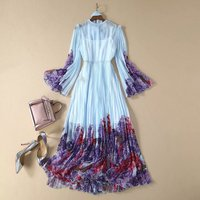 New 2020 spring summer chiffon women bohemian dress ruffles front flare sleeve floral pleated print chiffon dresses blue