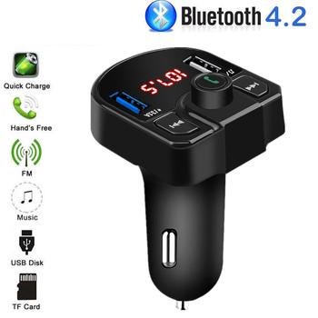 Cyfrowy nadajnik FM samochodowy zestaw głośnomówiący Bluetooth bezprzewodowy samochód odtwarzacz MP3 ładowarka USB do telefonu 3 1A 5V samochodowa przejściówka do ładowarki TF U disk tanie i dobre opinie kebidu Handsfree bluetooth car kit 5V 3 1A Nadajniki fm 12 v FM transmitter