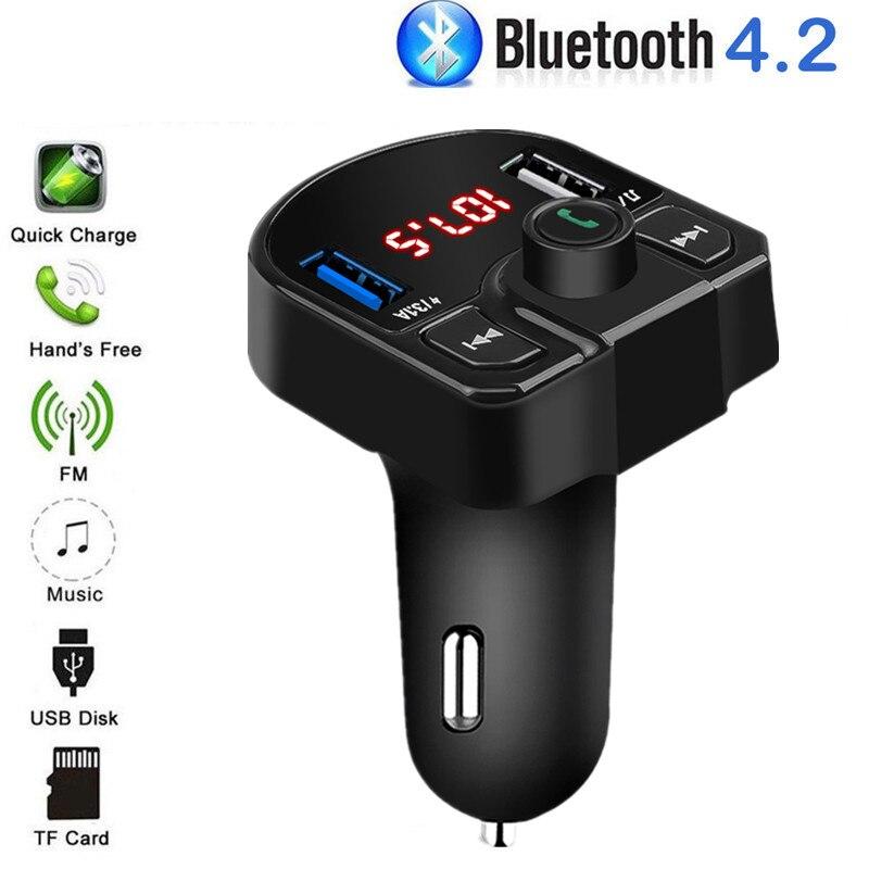Цифровой FM-передатчик для автомобиля, беспроводной Автомобильный MP3-плеер с Bluetooth, зарядное устройство USB для телефона, 3,1 А, 5 В, автомобильно...