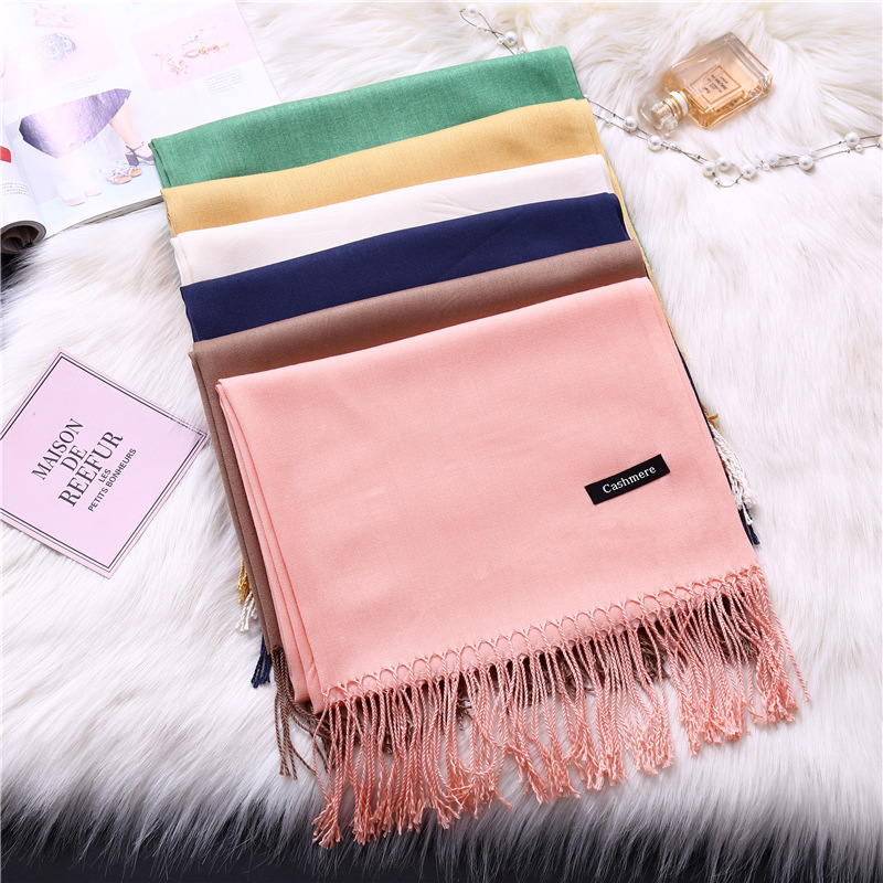 2020 women scarf solid cashmere scarves lady shawls and wraps winter head scarf pashmina long size