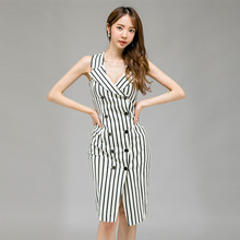 2019 Large Size Print Striped Summer Dress Sleeveless Double Button Split OL Work Office Dress Women Sheath Bodycon Wrap Dress