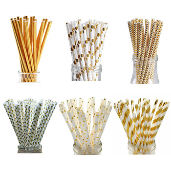 25pcs/set Foil Gold Drinking Paper Straws Birthday Party Wedding Decorative Supplies Home Supplies Biodegradable Paper 25pcs lot foil mix silver drinking paper straws mickey mouse cake flags for birthday wedding decorative party event supplies