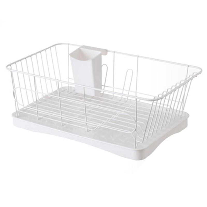 JEYL Iron Multifunction Bowl Plate Dish Cup Cutlery Drainer Storage Shelf Rack Organizer Holder for Kitchen Storage Tool White