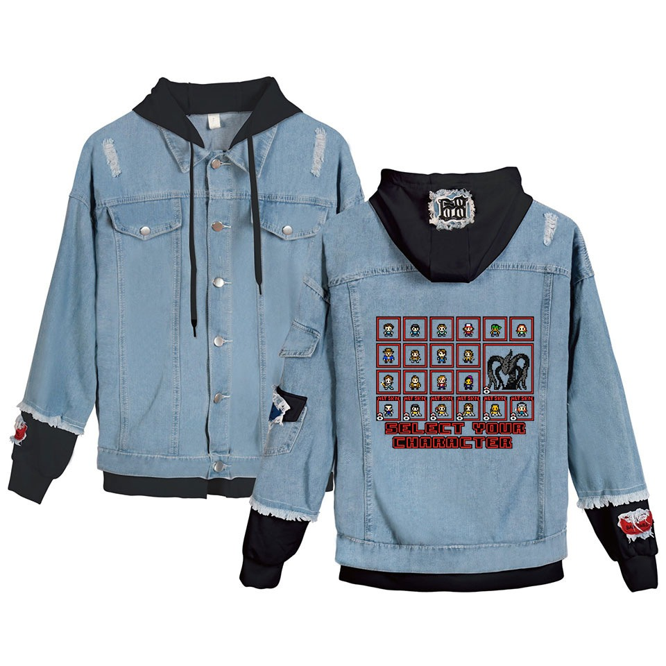 Womens Jackets and Coats Fit Bomber Cotton Denim Jacket Stranger Things Hoody Coats Hip Hop Print Sweatshirt Size XS-4XL Clothes title=