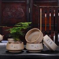 Creative Bonsai Green Plant Zisha Ceramic Pot personality Stoneware Retro Meaty Small Succulent Plant Breathable Flower Pot