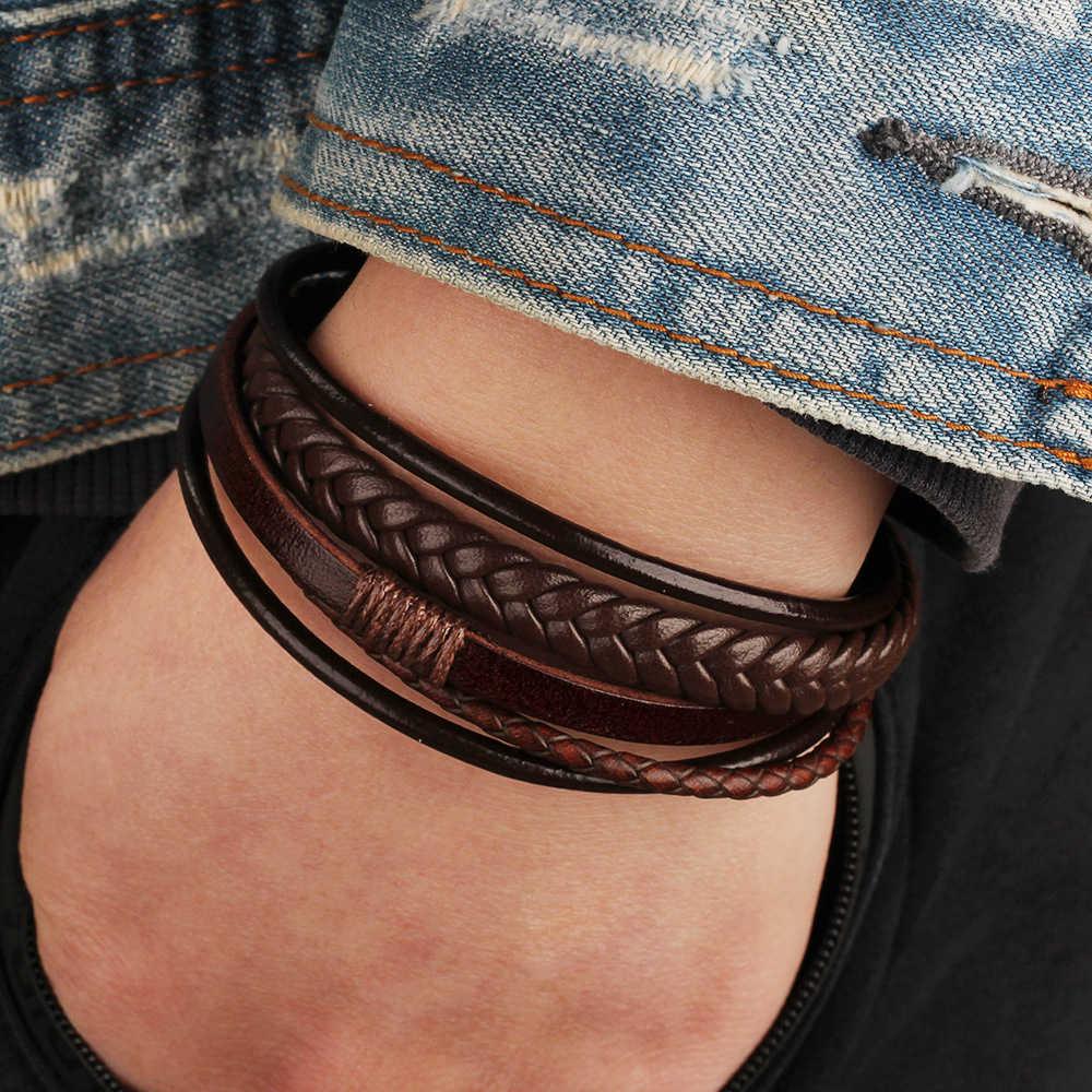 Bransoletka męska wielowarstwowe bransoletki skórzane zapięcie magnetyczne skóra bydlęca pleciony wielowarstwowe Wrap Trendy bransoletka opaska pulsera hombre