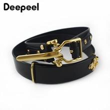 Deepeel 1pc 3.8*110-125cm Men's First Layer Cowskin Belt DIY Handmade Genuine Leather Knight Belts Brass Pin Buckle Waistband