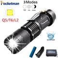Мини Q5 T6 L2 светодиодный фонарь-ручка клип телескопический зум-объектив с ламповой Водонепроницаемый фонарь эксклюзивная карманная вспышка...