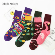 Autumn Winter New Arrival Happy Socks Men/Women Funny Creative Cartoon Fashion Couple Casual Cotton Skateboard Long
