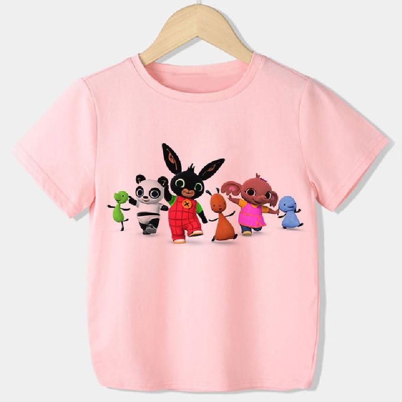2021 Bing Cartoon t-shirt pour filles O cou à manches courtes vêtements enfants vêtements garçons Bing lapins graphique été t-shirt garçon doux