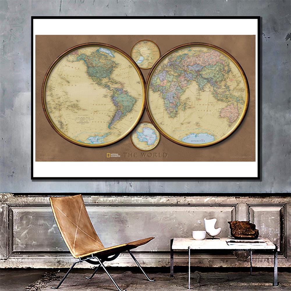 150x225cm Retro Style World Map Non-woven Fun Map Creative Decorative Map For Home Decor