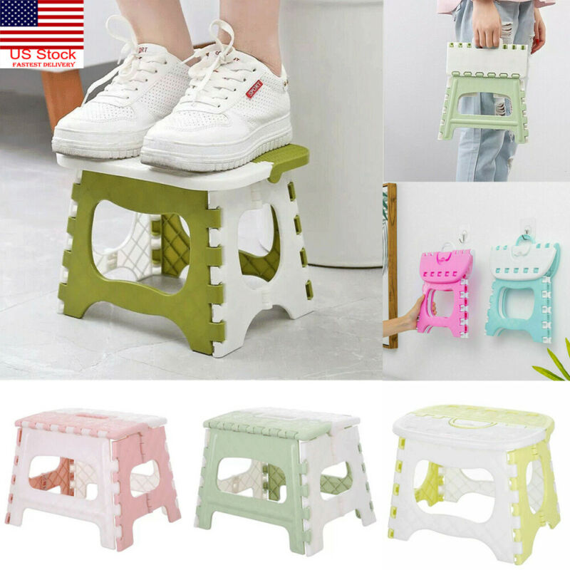 Plastic Multi Purpose Folding Step Stool Home Train Outdoor Storage Foldable Outdoor Storage Foldable Kids Holding Stool Camping