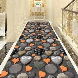Romantyczne serce w kształcie kostki brukowej wycieraczka wejściowa salon nocny balkon dywan do składania flaneli dywan do salonu 3D korytarz Mat