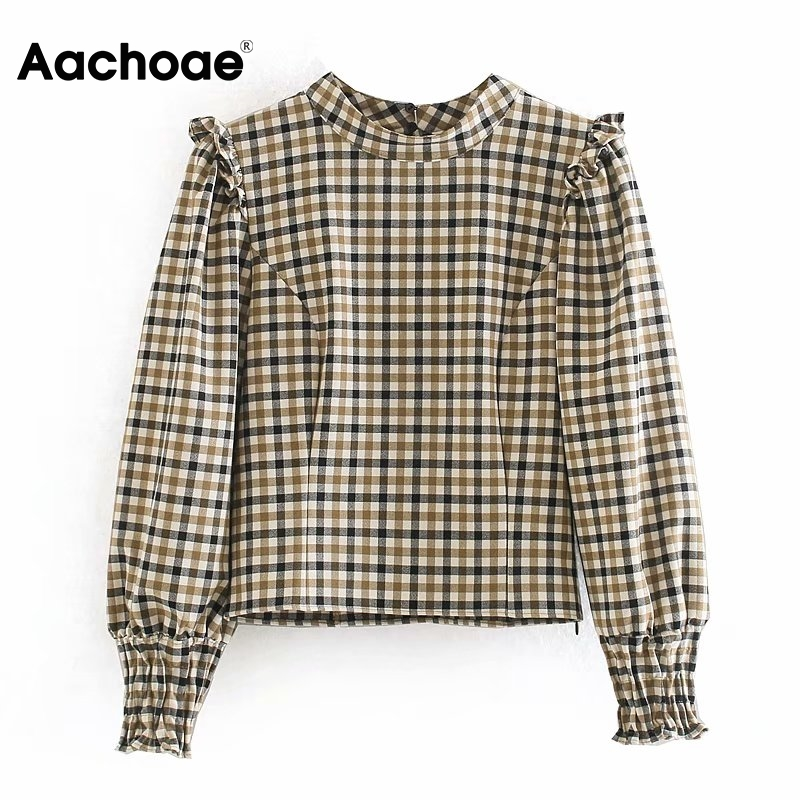 2020 Fashion Plaid Print Blouse Women Long Sleeve Ruffle Blouses Shirts Stand Collar Casual Elegant Tunic Tops Camisas Mujer
