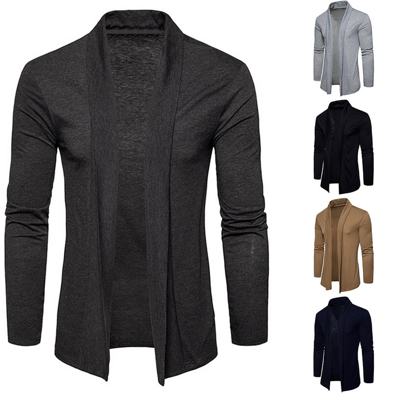 Male Solid Color Shawl Sweater Men Fashion Thin Coats Pull Cardigan Men's Long Sleeve Knitwear Sweaters Jackets Tops J743