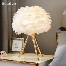 Гусиное перо светодиодные настольные лампы современные прикроватные