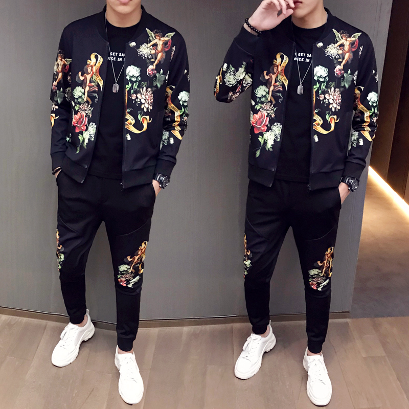 2020 New Jacket + Pants Men Tracksuit Moda Hombre Fashion Printing Men's Set Spring Men's Sports Suit 2 Piece Sets Plus Size 5XL