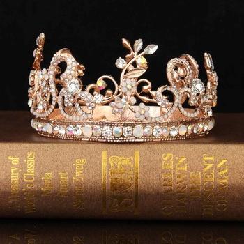 Korona ślubna ozdoba ślubna do włosów różowe złoto kolorowe Rhinestone Diadem kryształowy korona królowej księżniczka tiara ślubna biżuteria do włosów tanie i dobre opinie Ze stopu cynku Tiary Kobiety TRENDY Bridal Crystal Crown ROUND Rose Gold+Colorful Crystal Gold Leaf Headdress App 12 5cm