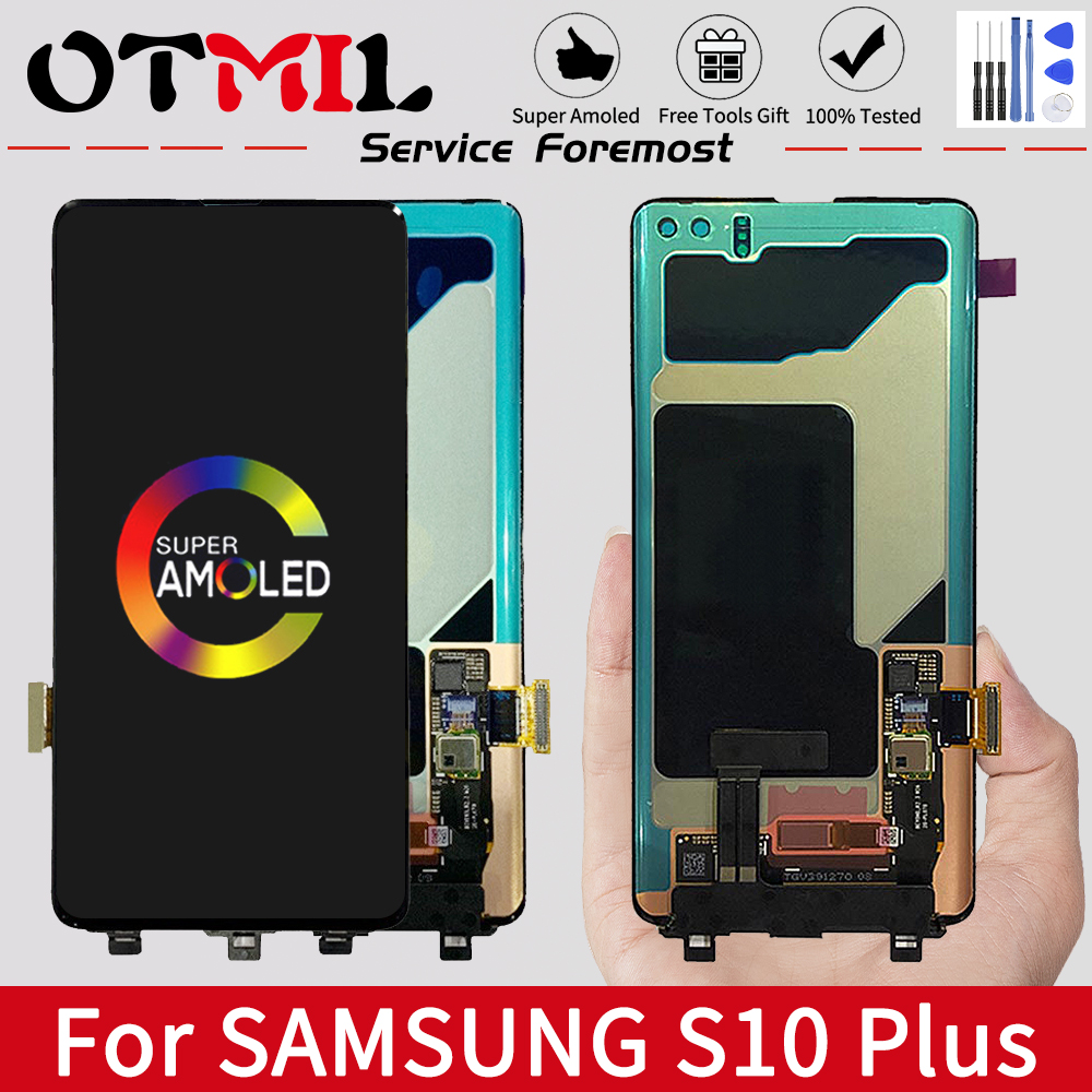 OTMIL Super AMOLED for <font><b>SAMSUNG</b></font> <font><b>S10</b></font> PLUS <font><b>LCD</b></font> Display Touch <font><b>Screen</b></font> Digitizer For <font><b>SAMSUNG</b></font> Galaxy <font><b>S10</b></font> Plus <font><b>LCD</b></font> image