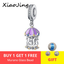 New 100% 925 Sterling Silver Charms Purple Enamel Playground Blue CZ Carousel Beads fit Pandora Bracelet for girl DIY jewelry