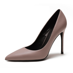 Image 2 - New Spring Party Wedding Woman High Heel Genuine Leather Pointed Toe Mature Office Lady Elegant Shoes Women Pumps Big Size A003