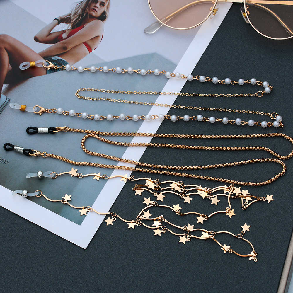 nalmatoionme acero inoxidable bola perlas cadena gafas de sol para gafas cord/ón soporte plata