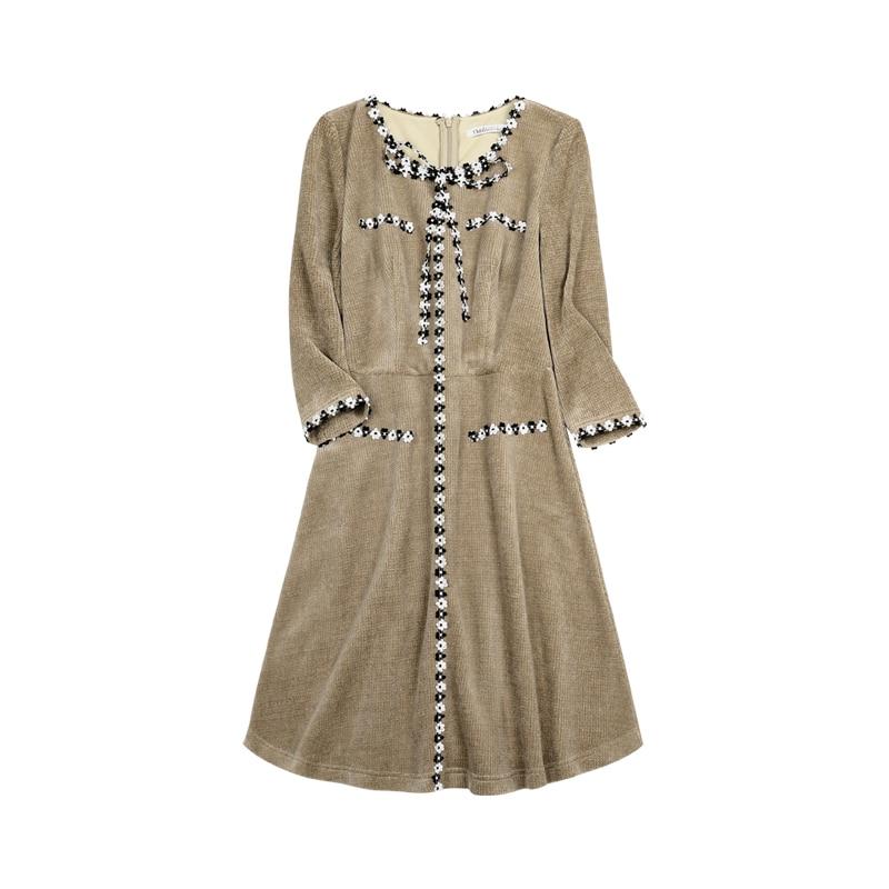 Image 5 - Dabuwawa Patchwork Women Office Dress Elegant Long Sleeve Bow  Tied Midi Dress Autumn Ladies Work Wear A line Dress DN1ADR005Dresses