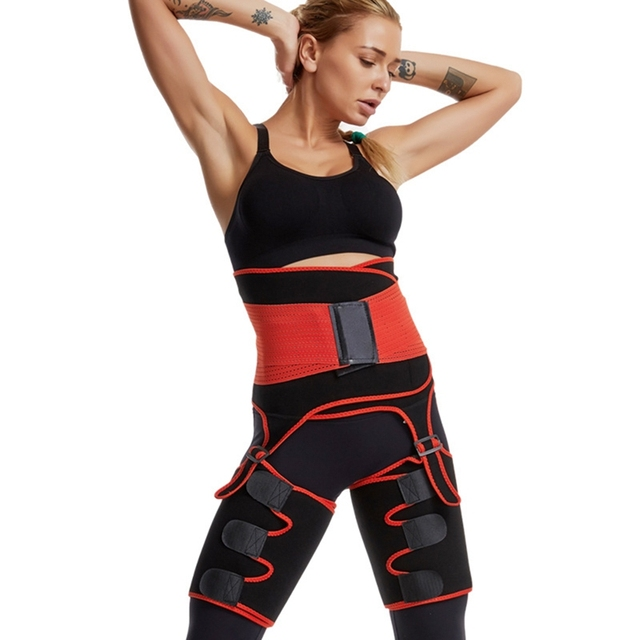 Hot 2 in 1 Waist Trainer and Thigh Trimmer Double Compression Belt Leg Support Sweat Sauna Effect 4