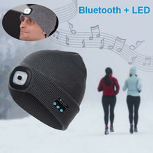 Wireless Bluetooth 5.0 BeanieLED Headlamp USB Rechargeable Unisex Musical Hat Skullies
