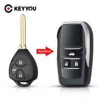 KEYYOU-carcasa de llave a distancia de coche plegable, 2 y 3 botones, para Toyota Corolla, RAV4, Camry, Avlon, Scion Key modificado, 2019