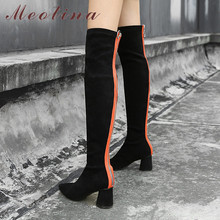 Meotina Autumn Thigh High Boots Women Real Leather Thick Heel Over The Knee Slim Stretch Zipper Shoes Lady Size 34-39