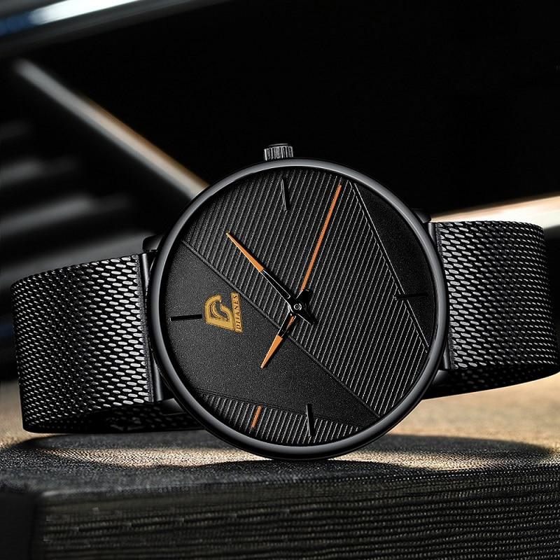 reloj hombre 2021 Fashion Watches Men Classic Black Ultra Thin Stainless Steel Mesh Belt Quartz Wrist Watch relogio masculino 4