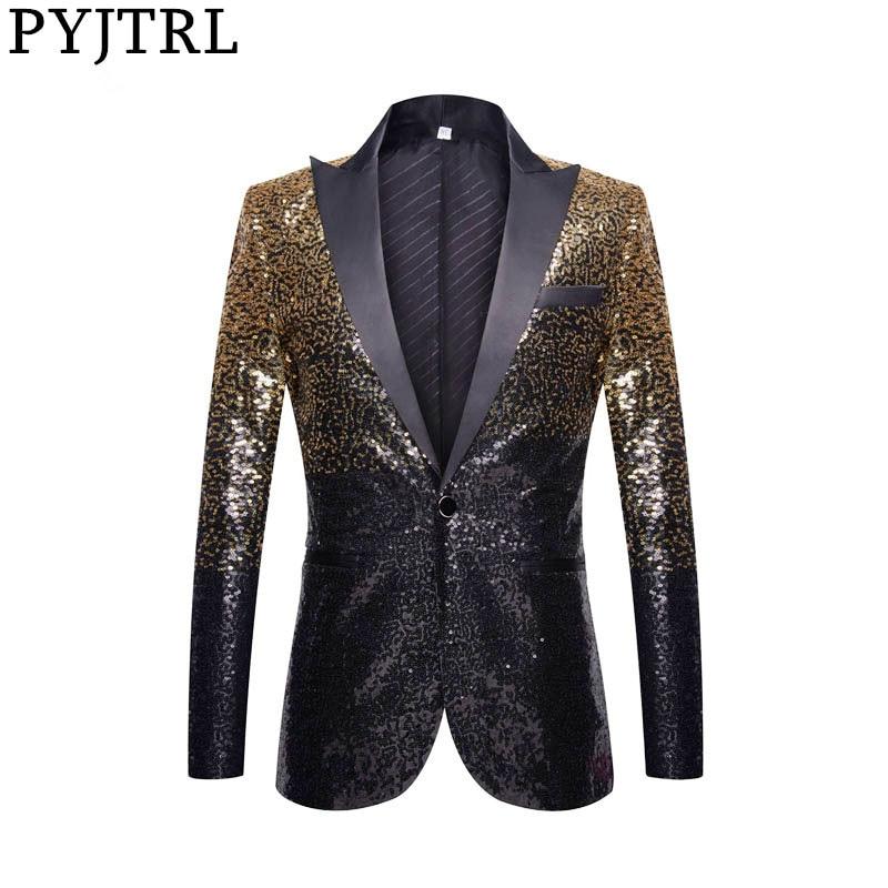 PYJTRL Full Sequins Series Men Gradual Change Gold Black Slim Fit Suit Jacket Banquet Nightclub Singers Blazer Wedding Tuxedo