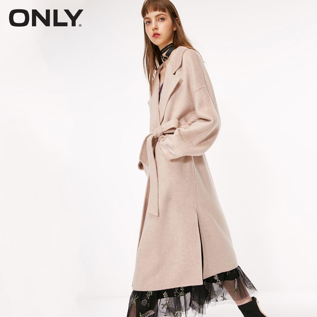 Apenas casaco de lã longa de dupla face de cintura nova de outono feminino   11834s525