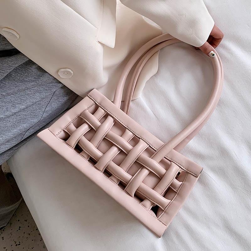 Waffle PU Leather Shoulder Bags For Women 2020 Small Handbags Female Candy Color Hand Bag Lady Travel Fashion Handbag