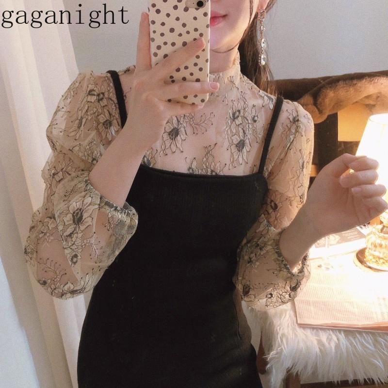 Gaganight Korean Retro Temperament 2 Pcs Women Set Stand Collar Lace Flower Shirt + High Waist Hip Straight Dress Suit X2517