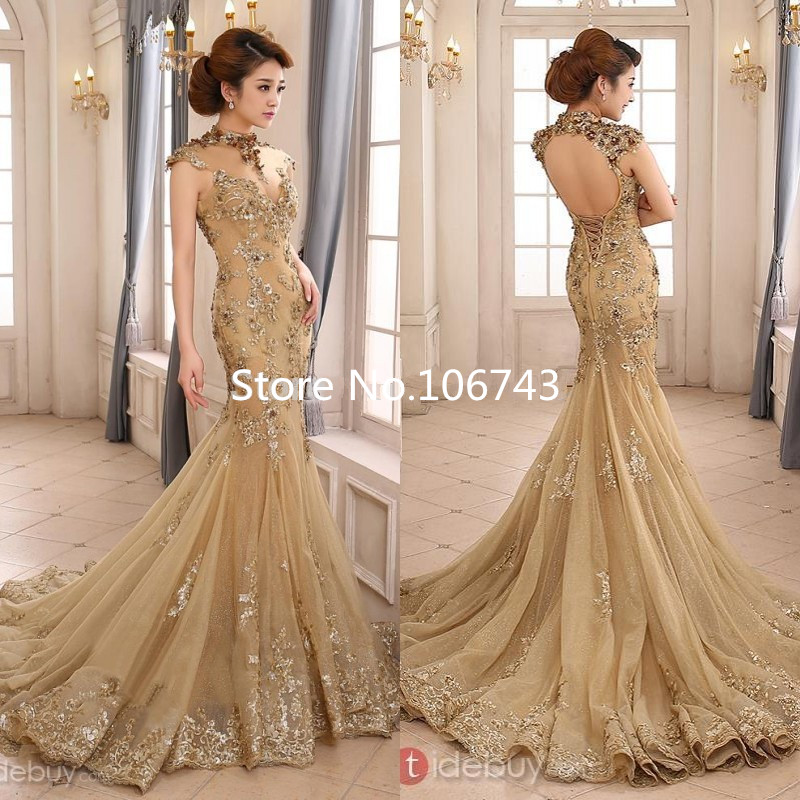 2018 Luxury Gold Mermaid High Neck Sheer Illusion Beaded Applique Sweep Train Backless Bridal Gown Mother Of The Bride Dresses