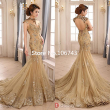 2018 Luxury Gold Mermaid High Neck Sheer Illusion Beaded Applique Sweep Train Backless Bridal Gown
