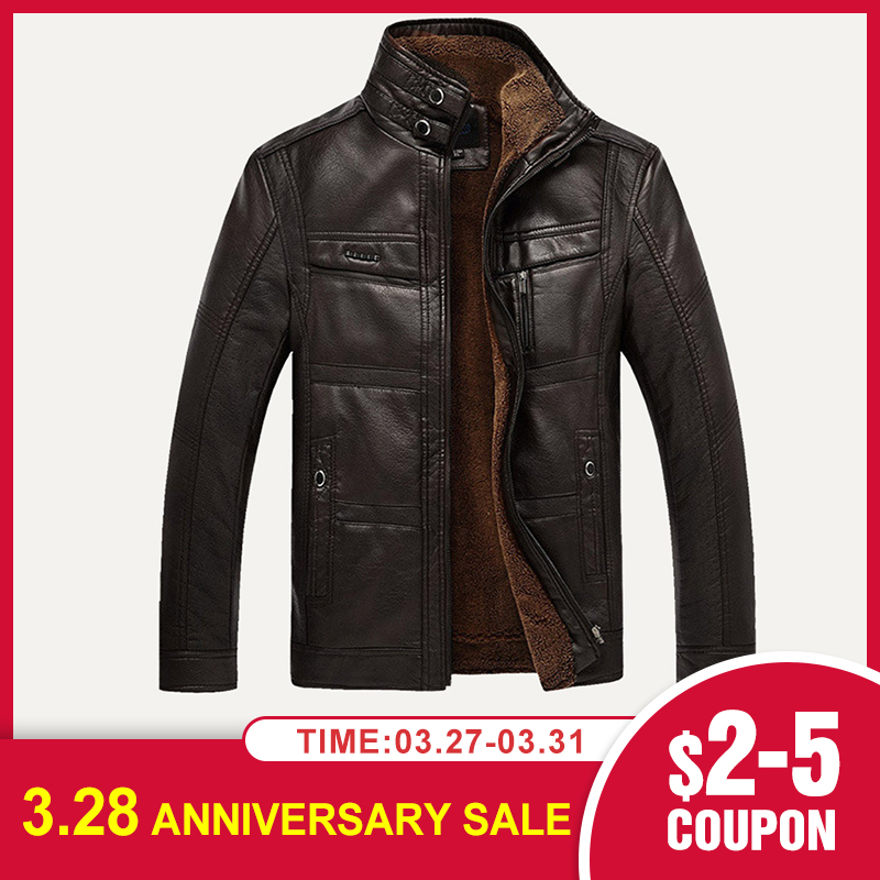 Men Faux Leather Jacket NEW Fashion Winter Tops Coat Fleece Lining Jacket Men High Quality PU Outerwear Men Classic Business 3XL