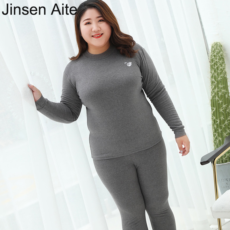 Jinsen Aite Plus Size 3XL-7XL Cotton New 2019 Women Thermal Underwear Long Johns Autumn Winter Slim Warm Underwear Sets JS852