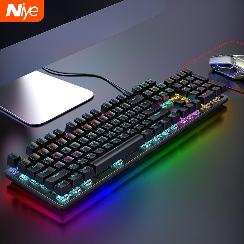 Проводная Механическая клавиатура для ПК, игровой комплект для ПК, черная, коричневая, черная, синяя клавиатура с переключателем, клавиши с ...