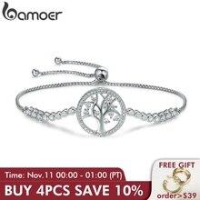BAMOER pulsera de tenis de árbol de la vida para 100% Plata de Ley 925, gran oferta, cadena de eslabón ajustable para mujer, joyería de plata SCB035