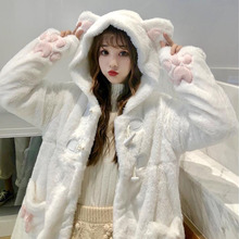 Sweet Girly Lolita Coats Women`s Japanese Winter Kawaii Outwear Warm Soft Plush Cartoon Anime Cute Cat Ears Hooded Jackets New