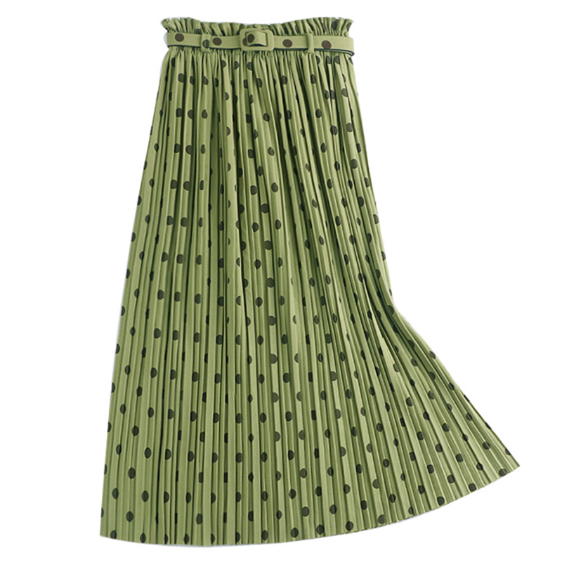 2019 New High Waist Slim Jupe Femme Belt Drape Big Swing Pleated Skirts Long Skirt Maxi Polka Dot Skirt Autumn Winter Women