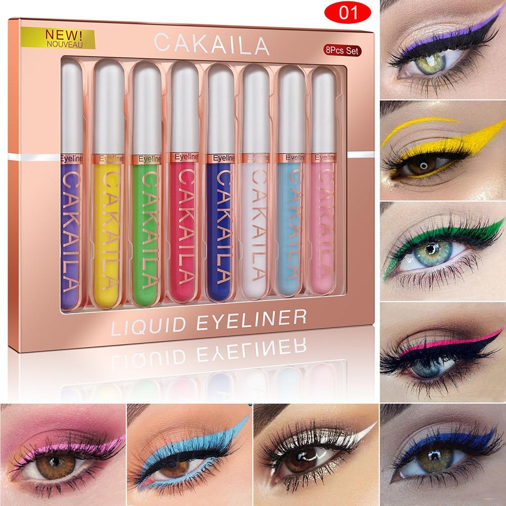 8 Colors/Set Matte Color Eyeliner Kit Makeup Waterproof Colorful Eye Liner Pen Eyes Make up Eyeshadow Cosmetics Eyeliners Set