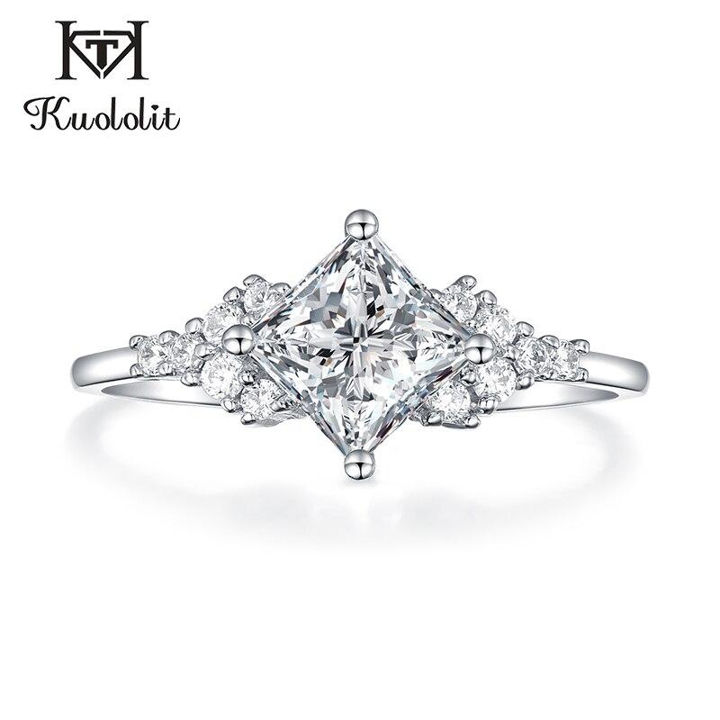 Kuololit 14K 585 białe złoto Moissanite pierścienie dla kobiet Lab Grown kwadratowe wycięcie wspaniały diament ślubne elegancka biżuteria zaręczynowa w Pierścionki od Biżuteria i akcesoria na  Grupa 1