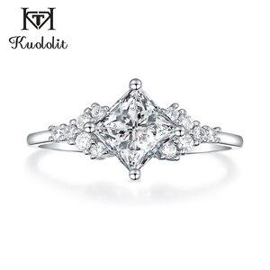 Image 2 - Kuololit 14K 585 białe złoto Moissanite pierścionki dla kobiet Lab Grown Square Cut Gorgeous diamentowe wesele elegancka biżuteria zaręczynowa