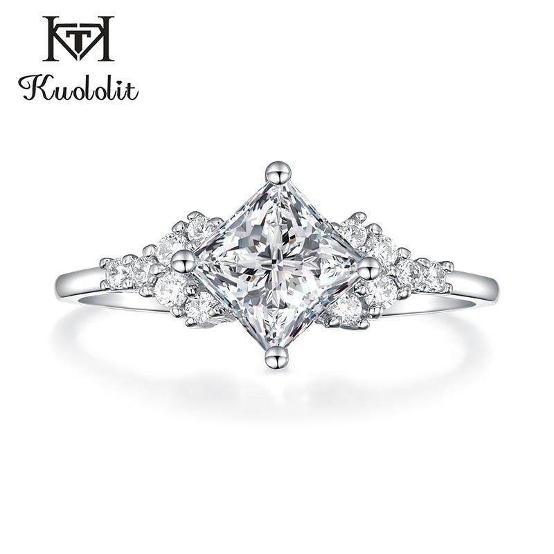 Kuololit 14K 585 or blanc Moissanite anneaux pour femmes laboratoire cultivé carré coupe magnifique diamant de fiançailles bijoux fins